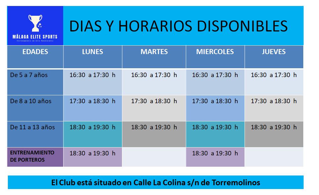 horarios disponibles Academia de tecnificacion futbol La Colina