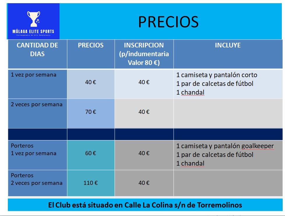 precios academia de tecnificacion de futbol La Colina