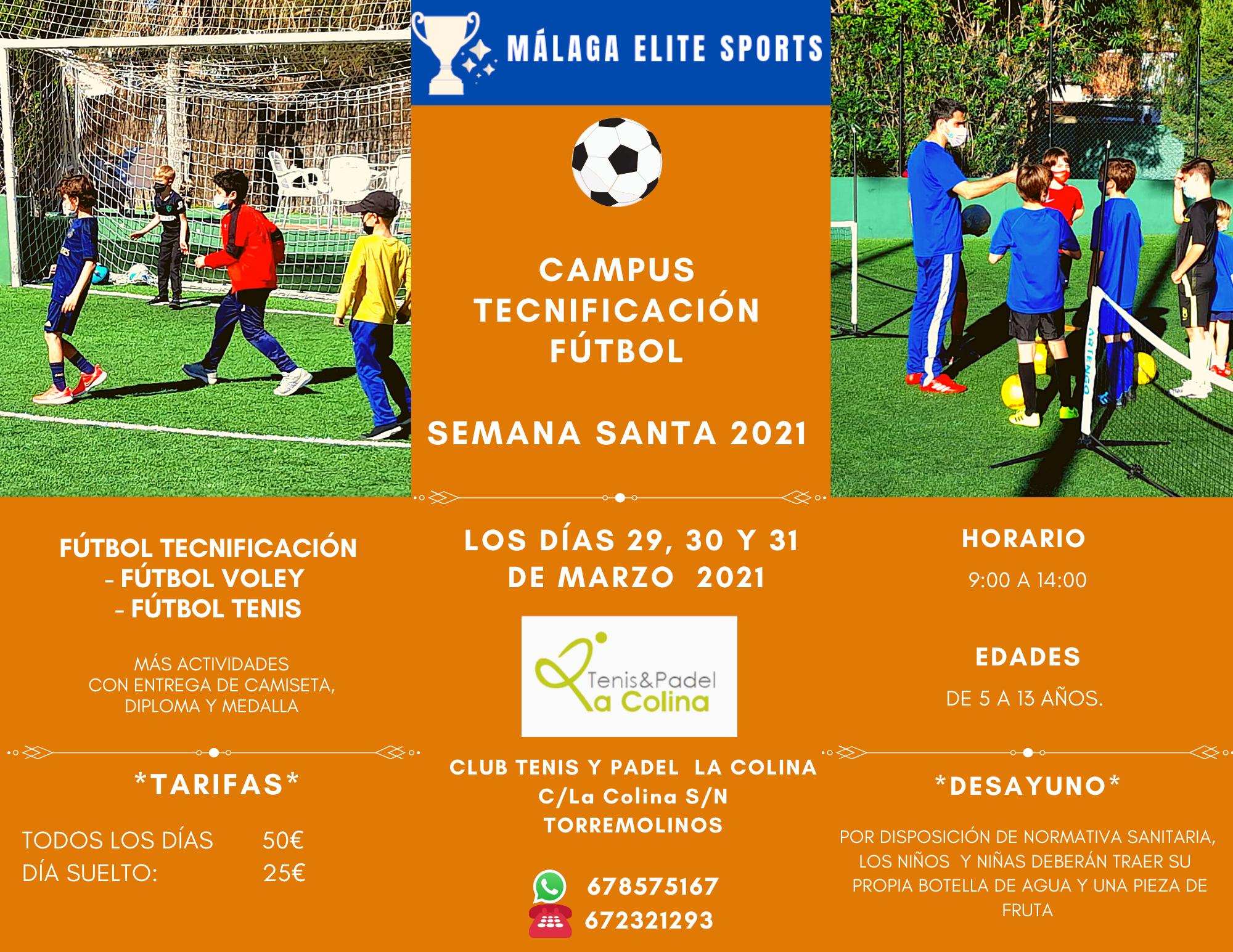 campamento fútbol semana santa 2021- en Torremolinos - La Colina Málaga Elite Sports