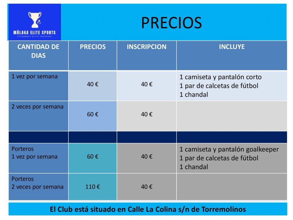 TARIFAS ACADEMIA TECNIFICACIÓN FÚTBOL 2021-2022